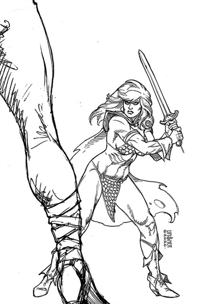 Image: Red Sonja: The Superpowers #3 (incentive 1:40 cover - Linsner B&W virgin) - Dynamite
