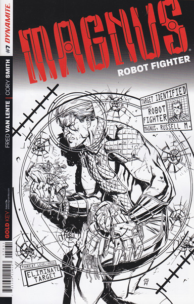Image: Magnus: Robot Fighter #7 (variant incentive cover - Smith B&W) (25-copy) - Dynamite