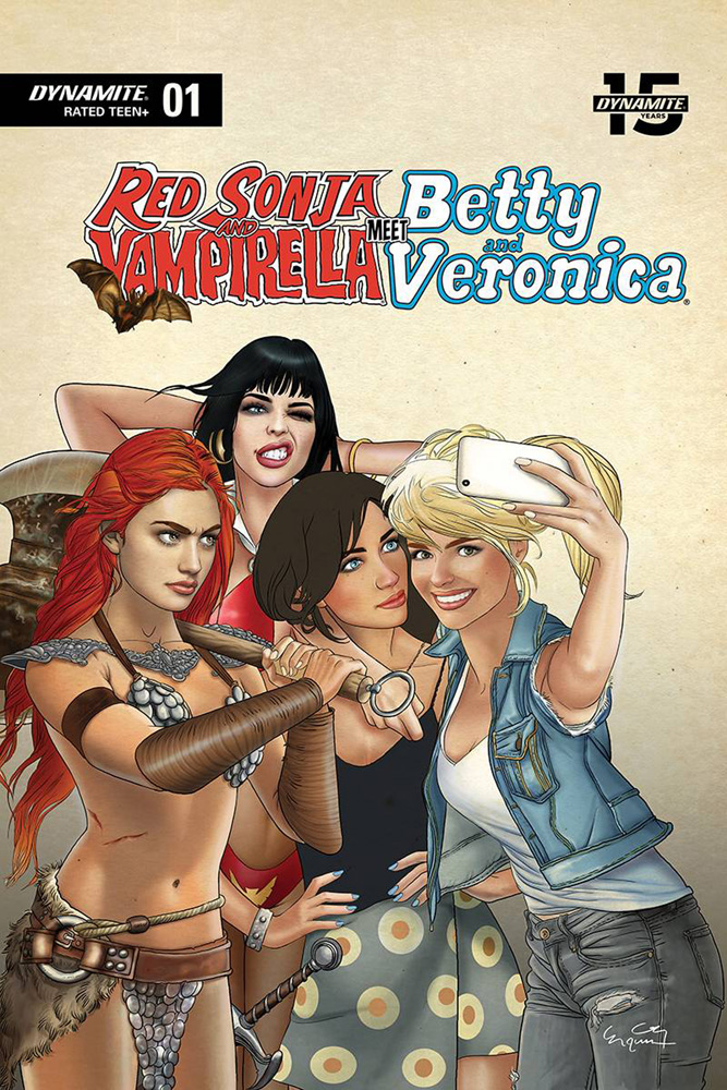 Image: Red Sonja & Vampirella Meet Betty & Veronica #1 (variant cover - Selfie) - Dynamite