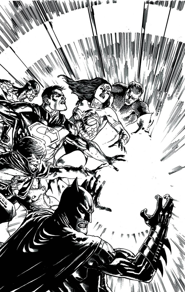 Image: Justice League #23 (Trinity) (B&W variant cover) - DC Comics