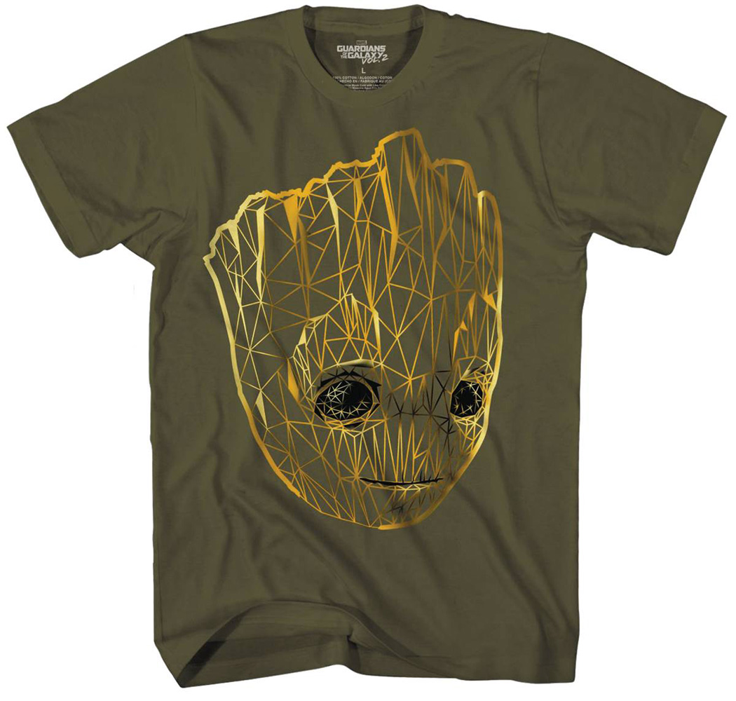 Image: Guardians of the Galaxy T-Shirt: Groot Line Glow-in-the-Dark [Military Green]  (XL) - Mad Engine