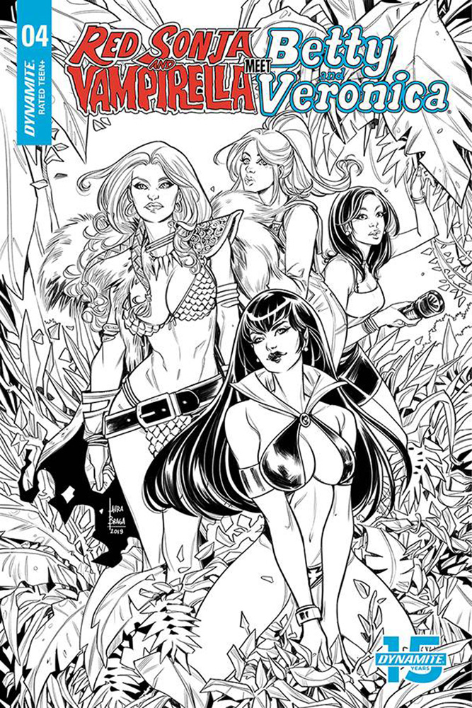 Image: Red Sonja and Vampirella Meet Betty and Veronica #4 (incentive cover - Braga B&W) (20-copy)  [2019] - Dynamite