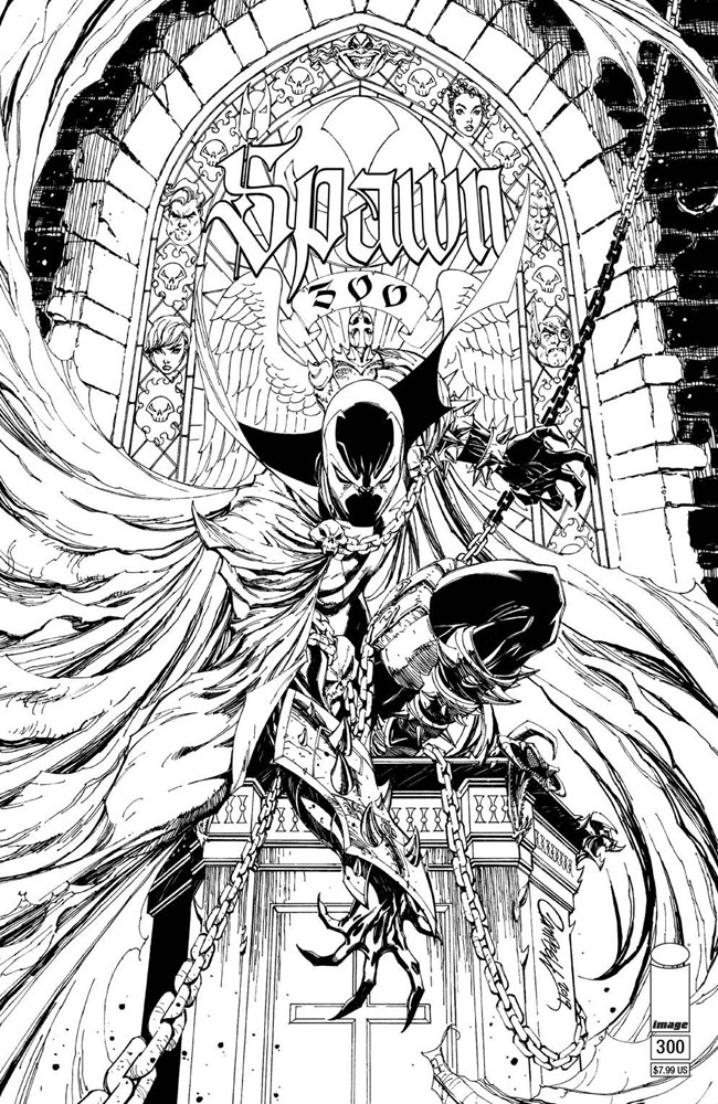 Image: Spawn #300 (cover M - Campbell black & white)  [2019] - Image Comics