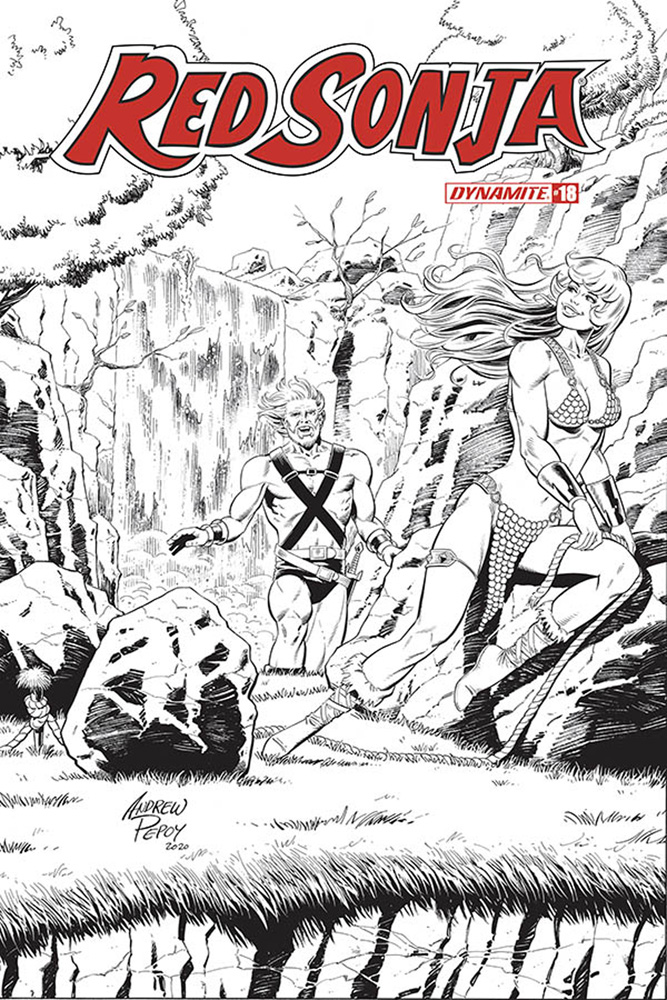 Image: Red Sonja Vol. 05 #18 (incentive 1:50 cover - Pepoy Seduction B&W)  [2020] - Dynamite