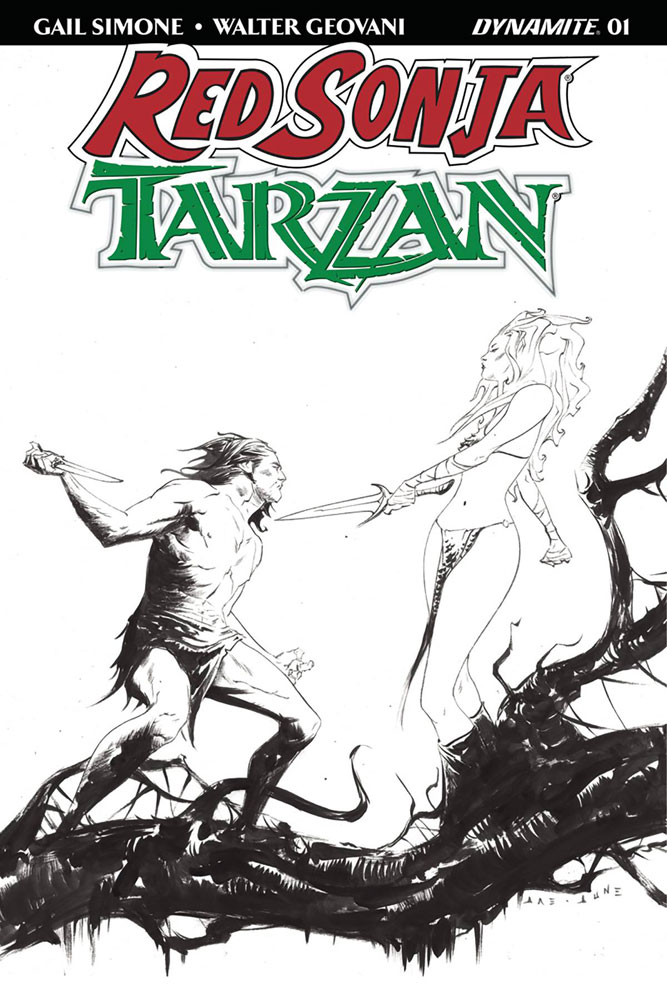 Image: Red Sonja / Tarzan #1 (cover I incentive - Lee B&W) (40-copy)  [2018] - Dynamite