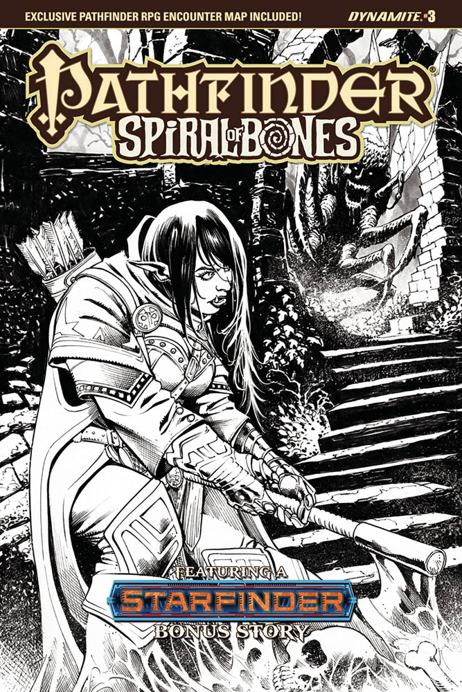 Image: Pathfinder: Spiral of Bones #3 (cover E - Santucci B&W)  [2018] - Dynamite