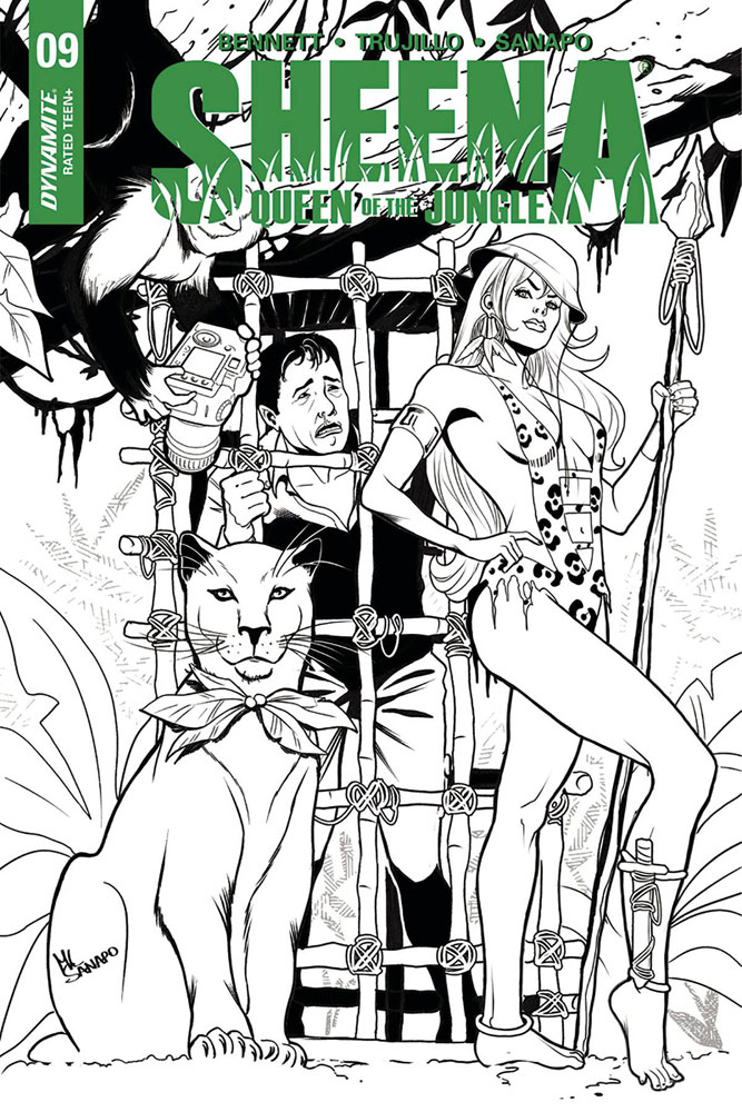 Image: Sheena: Queen of the Jungle #9 (cover E incentive - Sanapo B&W) (10-copy)  [2018] - Dynamite