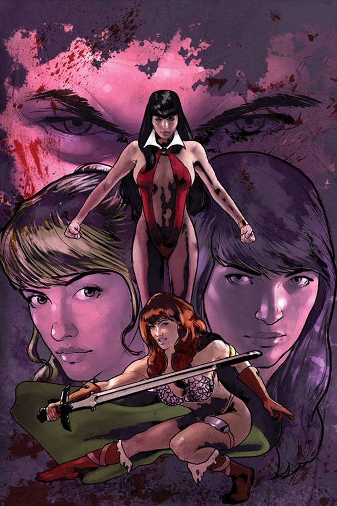Image: Red Sonja & Vampirella Meet Betty & Veronica #1 (variant virgin cover - Cat Staggs) - Dynamite