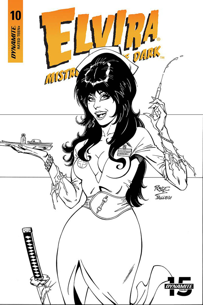 Image: Elvira: Mistress of the Dark #10 (incentive cover - Royle B&W) (20-copy)  [2019] - Dynamite