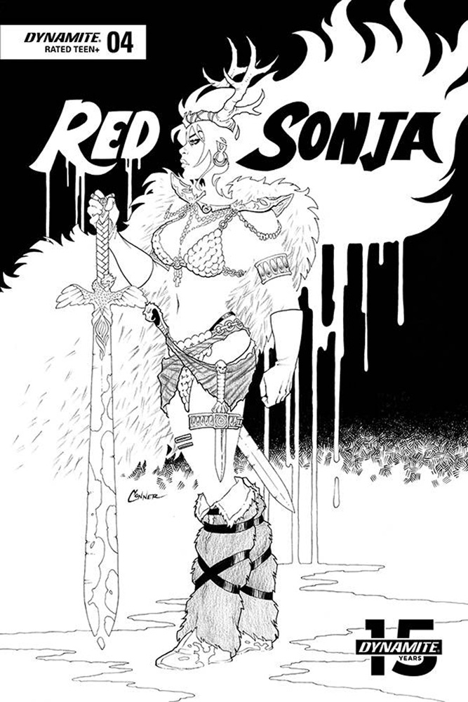 Image: Red Sonja Vol. 05 #4 (incentive cover - Conner B&W) (20-copy)  [2019] - Dynamite