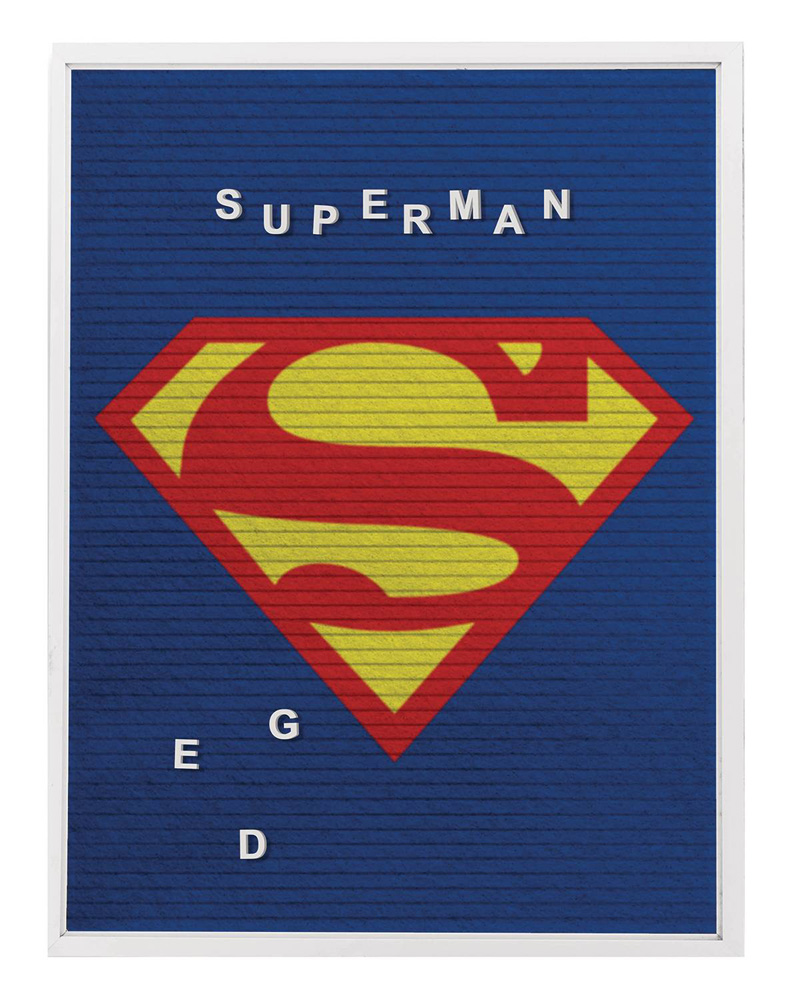 Image: DC Heroes Felt Letter Board Wall Art: Superman  (13x17 inch) - Cohen Hazan Group LLC