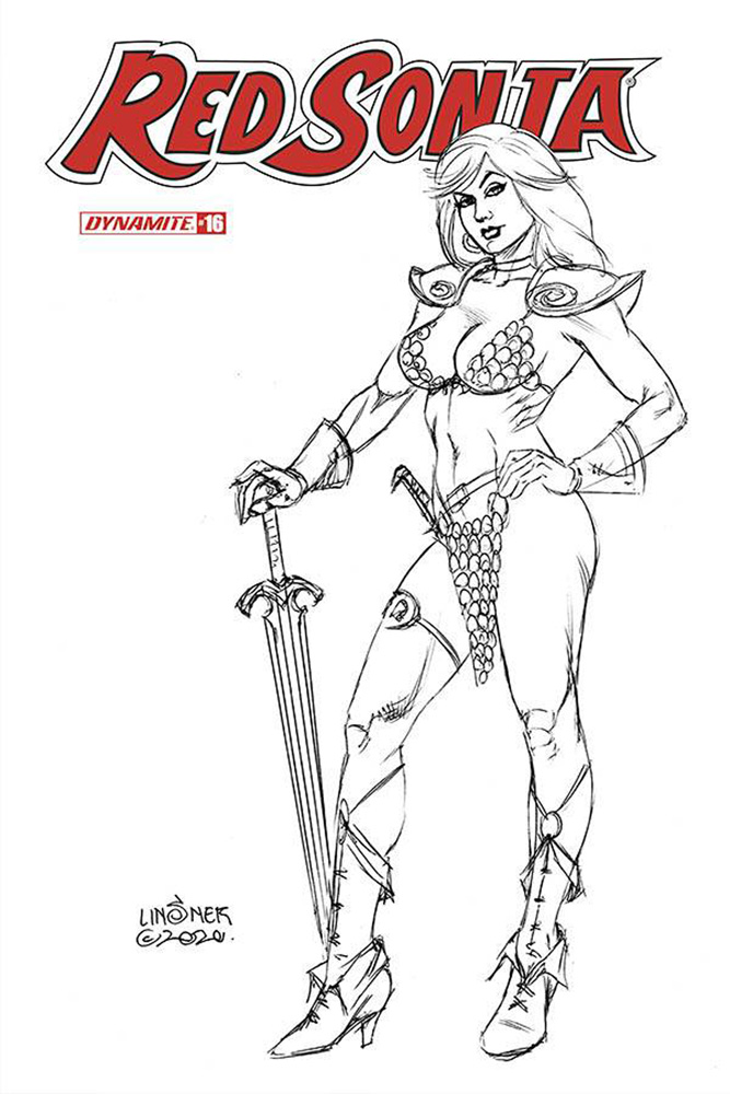 Image: Red Sonja Vol. 05 #16 (incentive 1:20 cover - Linsner B&W)  [2020] - Dynamite