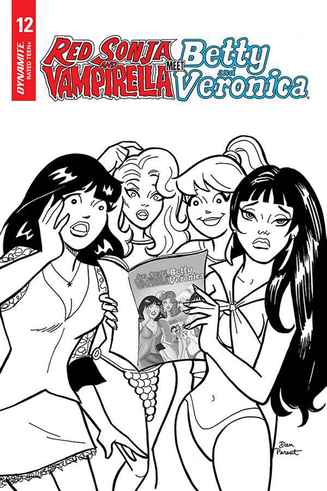 Image: Red Sonja and Vampirella Meet Betty and Veronica #12 (incentive 1:10 cover - Parent B&W)  [2020] - Dynamite