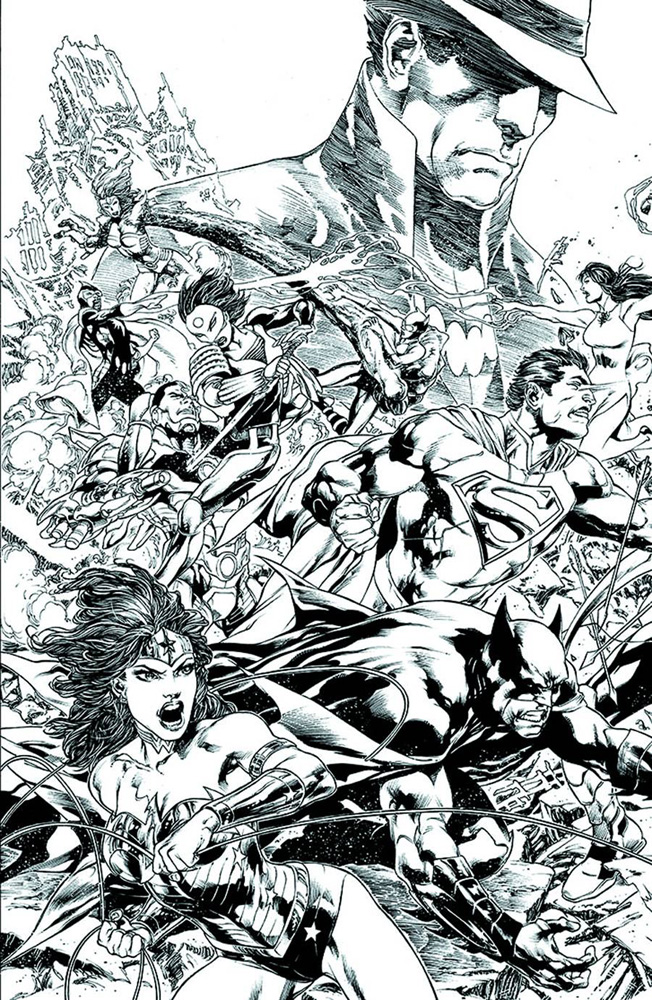 Image: Justice League #22 (Trinity) (B&W variant cover) - DC Comics