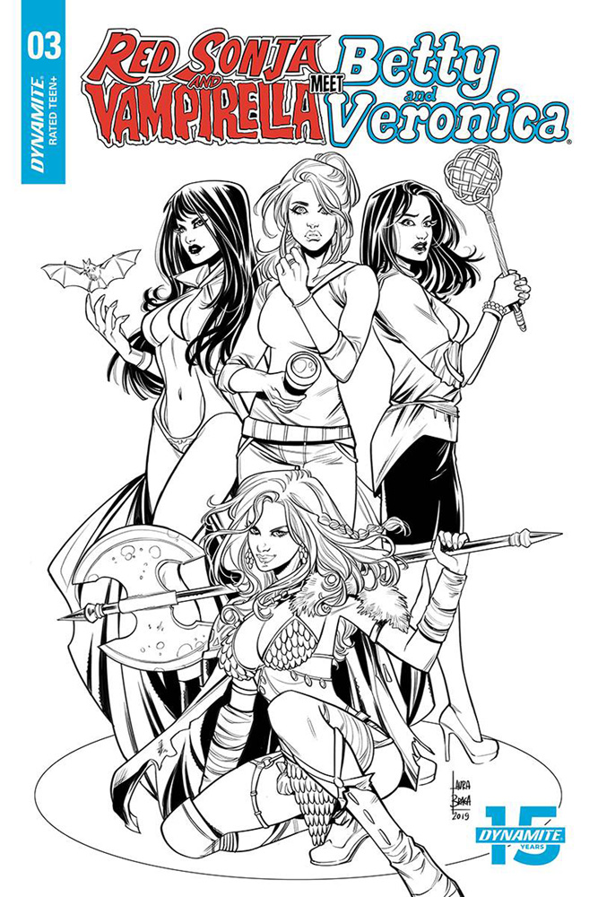 Image: Red Sonja and Vampirella Meet Betty and Veronica #3 (incentive cover - Braga B&W) (20-copy)  [2019] - Dynamite