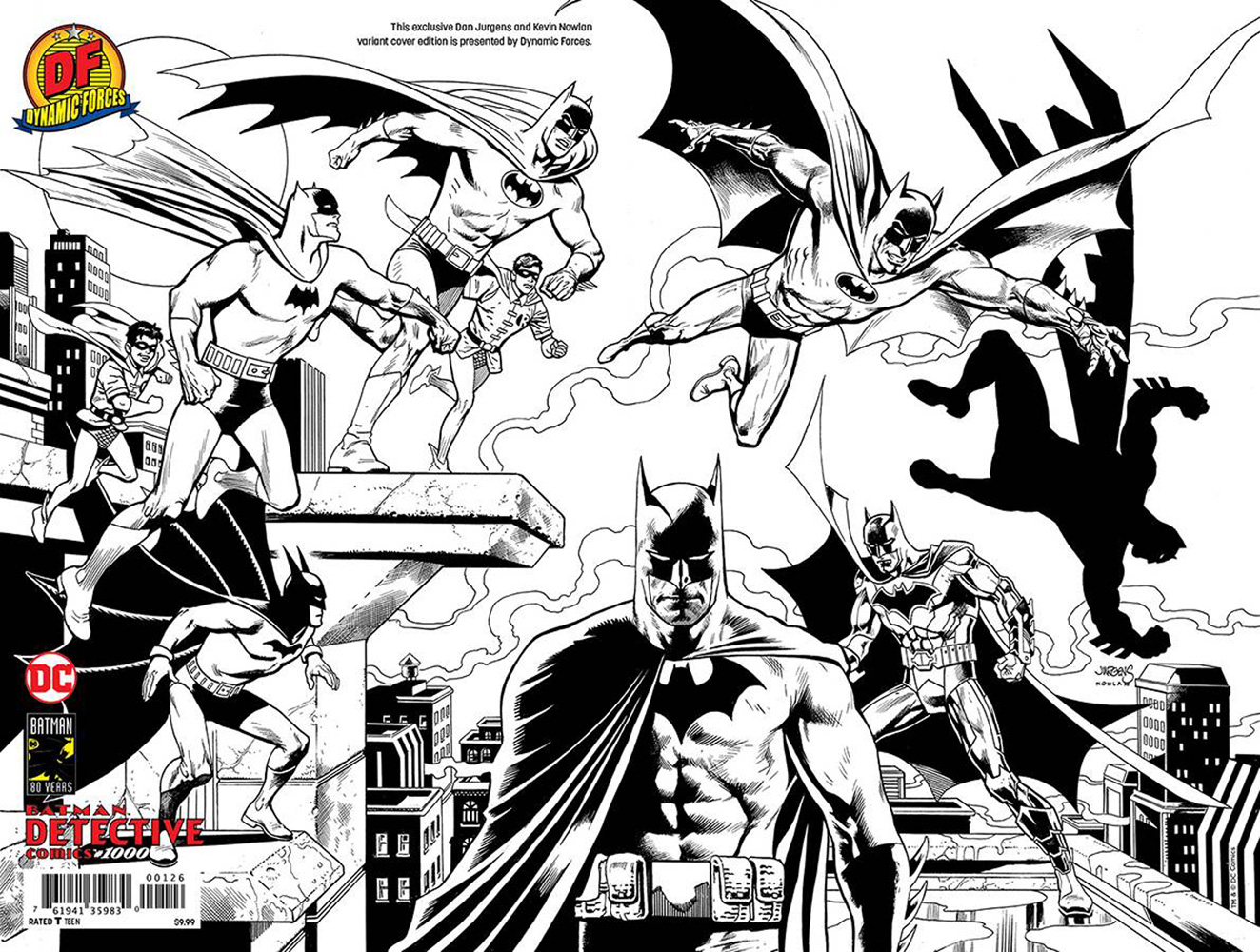 Image: Detective Comics #1000 (variant DFE wraparound cover - Jurgens & Nowlan [B&W]) - Dynamic Forces