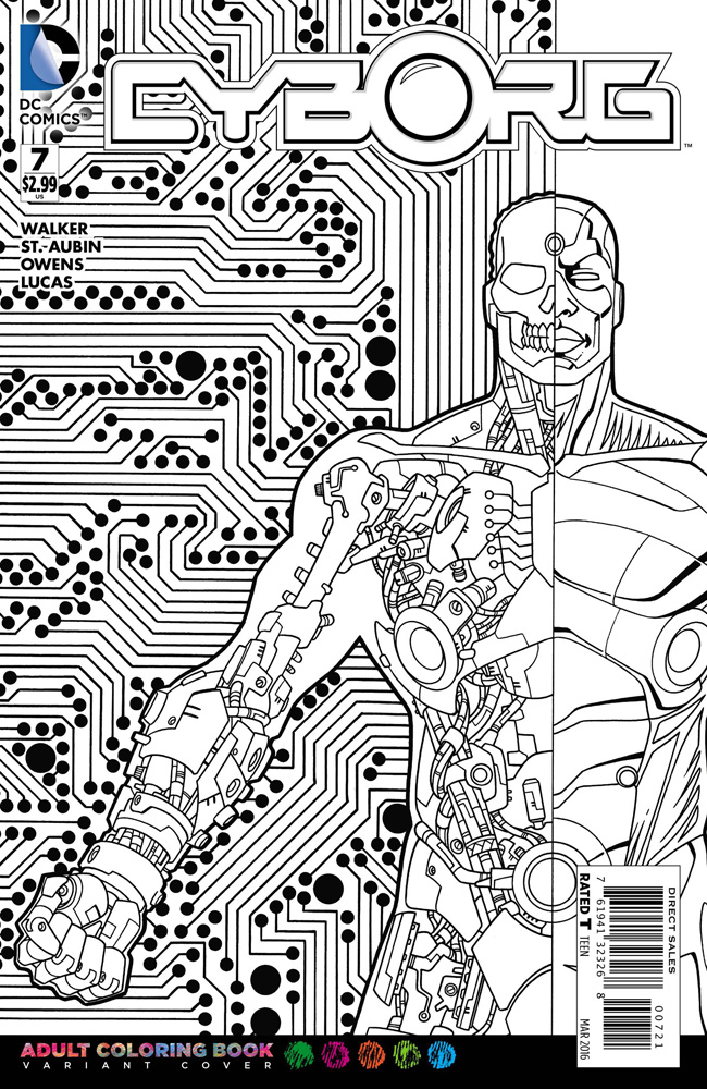 Image: Cyborg #7 (DCU variant - Adult Coloring Book cover) - DC Comics