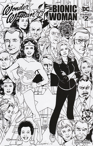 Image: Wonder Woman '77 Meets the Bionic Woman #2 (Aaron Lopresti b&w incentive cover - 02041) (25-copy)  [2016] - Dynamite