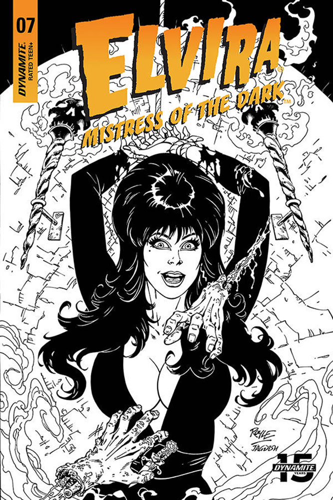 Image: Elvira: Mistress of the Dark #7 (incentive cover - Royle B&W) (20-copy)  [2019] - Dynamite