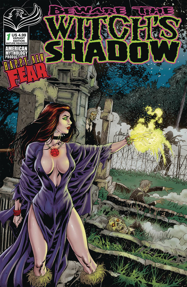 Image: Beware Witch's Shadow: Happy New Fear #1 (cover B - Bonk Graveside) - American Mythology Productions