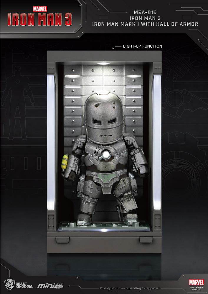 Iron Man 3 Mea-015 Figure: Iron Man Mk I  (w/Hall of Armor) - Beast Kingdom Co., Ltd