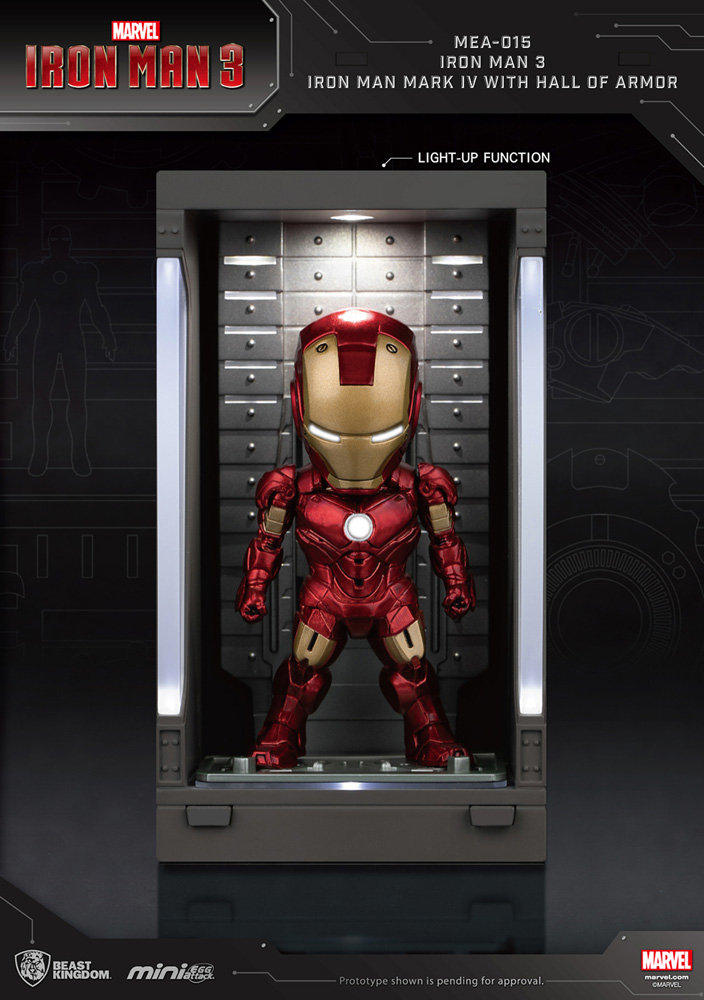 Iron Man 3 Mea-015 Figure: Iron Man Mk IV  (w/Hall of Armor) - Beast Kingdom Co., Ltd