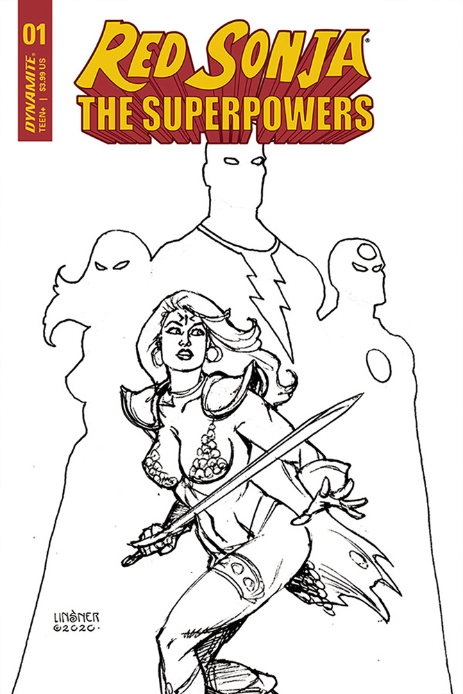Image: Red Sonja: The Superpowers #1 (incentive 1:30 cover - Linsner B&W) - Dynamite