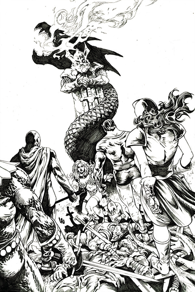 Image: Red Sonja: The Superpowers #1 (incentive 1:30 cover - Lau B&W virgin)  [2021] - Dynamite