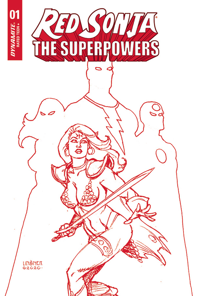 Image: Red Sonja: The Superpowers #1 (variant Crimson Red Art cover - Linsner) - Dynamite