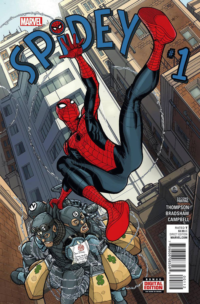 Image: Spidey #1 (variant 2nd printing cover - Nick Bradshaw)  [2015] - Marvel Comics