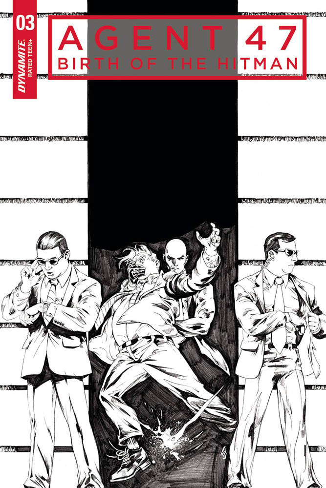 Image: Agent 47: Birth of the Hitman #3 (cover C incentive - B&W) (10-copy)  [2017] - Dynamite