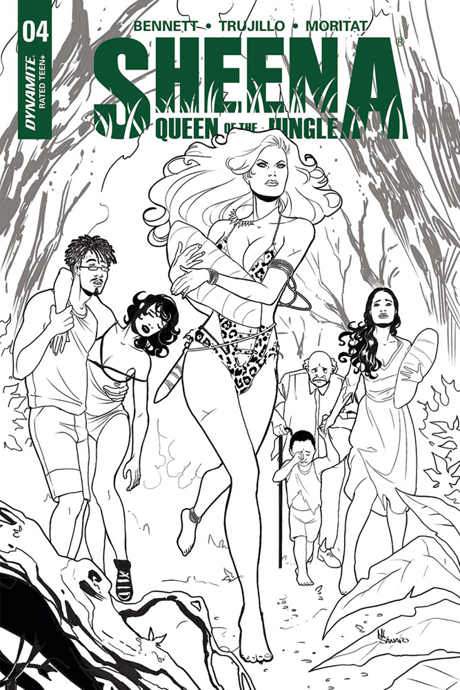 Image: Sheena Queen of the Jungle #4 (cover G incentive - Sanapo B&W) (25-copy)  [2017] - Dynamite