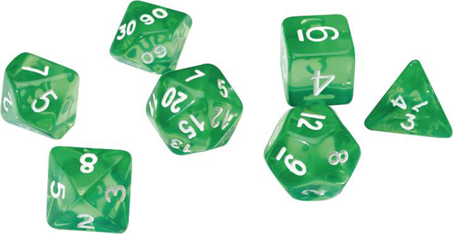 Image: Sirius Dice Set: Translucent Green Resin  - Sirius Dice
