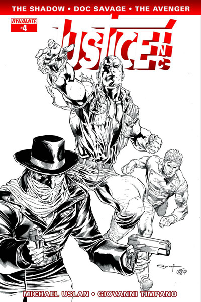 Image: Justice, Inc. #4 (variant incentive cover - Syaf B&W) (15-copy) - Dynamite