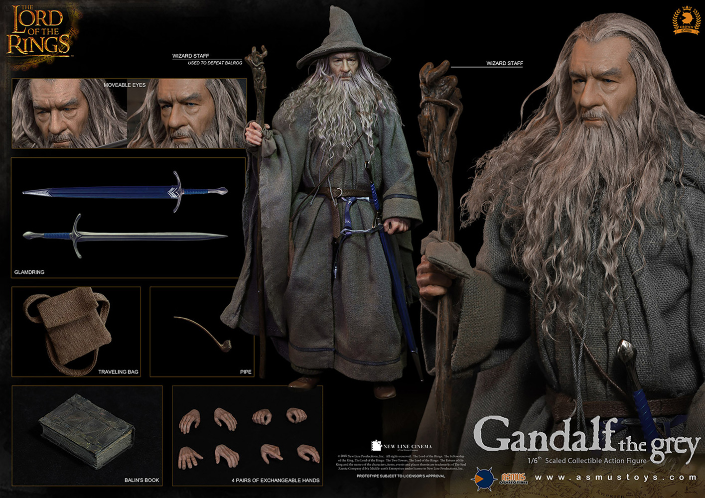 Lord of the Rings Crown Series Action Figure: Gandalf the Grey  - Asmus Toys, Inc.