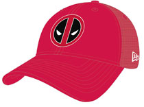 Image: Marvel Washed Trucker Snap Back Cap: Deadpool Symbol  - New Era Cap Co