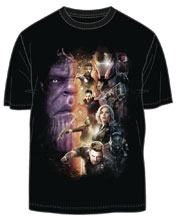Image: Avengers: Infinity War T-Shirt - Poster Group [Black]  (XL) - Mighty Fine