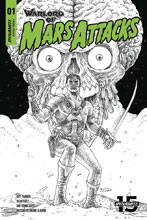 Image: Warlord of Mars Attacks #1 (incentive cover - Villalobos B&W) (40-copy) - Dynamite