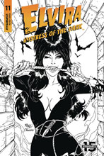 Image: Elvira: Mistress of the Dark #11 (incentive cover - Royle B&W) (20-copy) - Dynamite