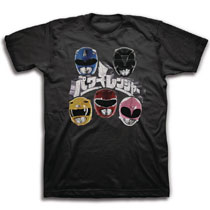 66230a2c0b0 Image  Mighty Morphin Power Rangers T-Shirt  Japanese Logo and Helmets   Black
