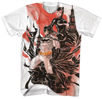 Image: Batman T-Shirt: Batman X Catwoman Watercolor [White]  (L) - New Moda LLC