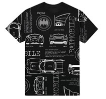 Image: Batman T-Shirt: Batmobile Specs [Black]  (XL) - New Moda LLC