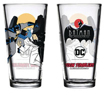 Image: Batman Animated Series Toon Tumblers Pint Glass: Batman & Two Face  - Popfun Merchandise