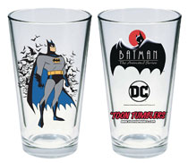 Image: Batman Animated Series Pint Glass: Batman  - Popfun Merchandise