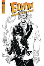 Image: Elvira: Mistress of the Dark #8 (incentive cover - Royle B&W) (20-copy) - Dynamite