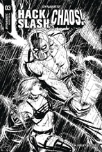Image: Hack / Slash vs. Chaos #3 (incentive cover - Cermak B&W) (10-copy) - Dynamite