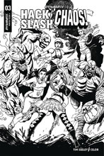 Image: Hack / Slash vs. Chaos #3 (incentive cover - Seeley B&W) (25-copy) - Dynamite