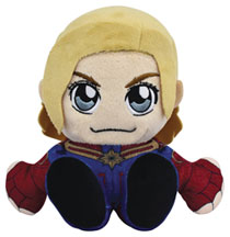 Image: Marvel Kuricha Sitting Plush Figure: Captain Marvel  (8-inch) - Bleacher Creatures