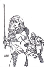 Image: Red Sonja: The Superpowers #2 (incentive 1:45 cover - Linsner B&W virgin) - Dynamite