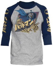 Image: DC Batman/Japanese Knight Raglan T-Shirt [Heather/Navy]  (XL) - Trevco Sportswear